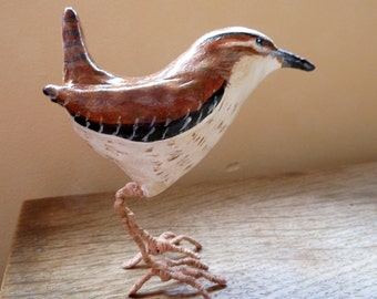 Wren sculpture bird ornament