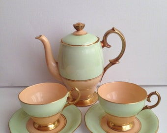 Rare Queen Anne 1950s Vintage Teapot and Two Cups and Saucers Fine Bone China