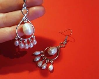Wedding earrings, Pearl earrings, Chandelier earrings, Pearl chandelier earrings