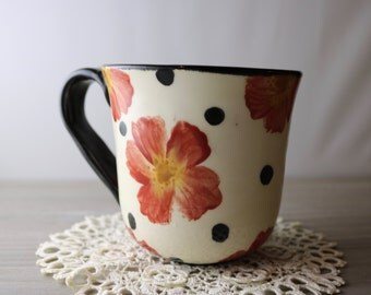 Black Polka Dot Mug with Red Flowers