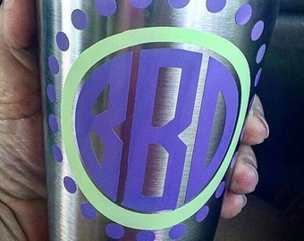 Decal, Monogrammed decals, Monograms, Customize your own decal, Circle Monogram Decal, Tumbler Decal, Stickers, decal stickers