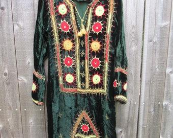 Vintage Dress Boho Dress Bohemian Dress Embroidered Hippie Dress Festival Clothing Free People Style Velvet Ethnic Mirrored Cotton Dress
