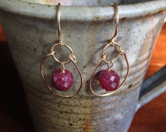 Ruby earrings - Ruby hoops - Ruby hoop earrings - Faceted Ruby Slice Earrings - July Birthstone Earrings - Gift For Her
