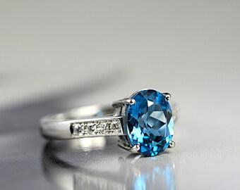 Blue Topaz Ring-London Blue Topaz Diamond Ring-Anniversary Ring-Blue Topaz Gold Ring-18ct White Gold-Ready to Ship