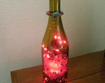 Hello Kitty Wine Bottle Light Hibiscus with palm tree tiki topper(pink lights) wine bottle decor, wine bottle, Hello Kitty Lamp, Hello Kitty