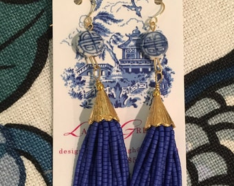 Blue and White Chinoiserie Tassel Earrings - ROYAL BLUE, porcelain, Chinese beads, delft, navy, white, cobalt, gold, beaded