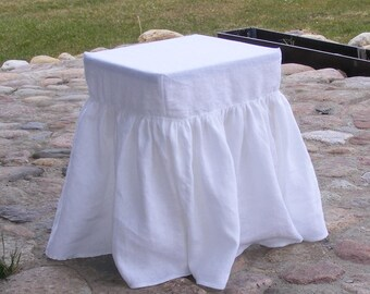 Long Ruffled Stool Seat Covers  / Linen Chair Cover / Bar Stool Seat Covers / Square / Slipcover
