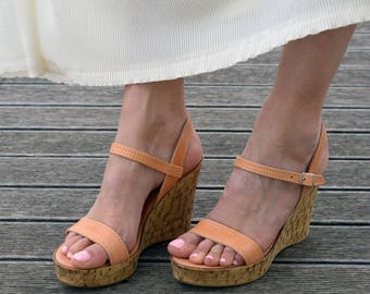 Platform Sandals, Cork Wedge Platforms, High heel Sandals ''Amalia''