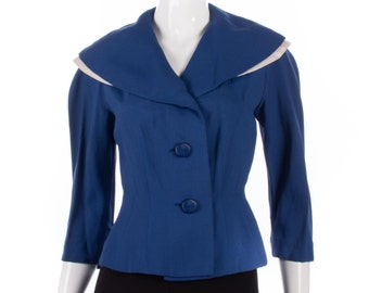 Fabulous vintage Lacta Ramage 1940's blue and white tailored jacket