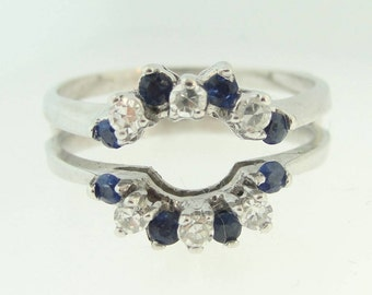 Sapphire And Diamond Guard Ring- 14k White Gold
