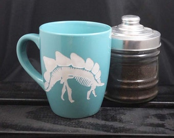 Stegosaurus Dinosaur Mug - Fossil Mug - Tea and Coffee Mug - Etched