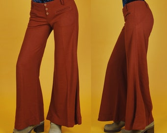1970's Vintage Hip Hugger Rust Orange Mega Bells