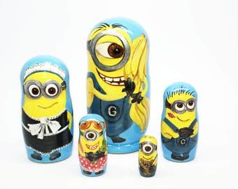 Minions Nesting Dolls, Kids Gift, Matryoshka Doll 5pcs, Funny Gifts, Kids  Room