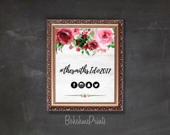 Printable Wedding Hashtag Sign Share the Love Sign Floral Wedding Sign Red Wedding Sign Printable Large Wedding Sign Wedding Hashtag Poster