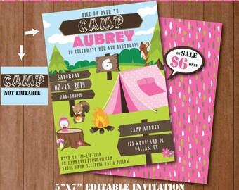 Camping Invitation-Self-Editing Printable Camp Out Birthday Invitation-Summer Party-Bonefire Birthday-Campfire-Camping Tent Party-A129-G