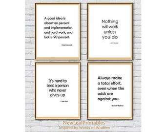 Printable Quote set,Guy Kawasaki,John Wooden,Arnold Palmer,Babe Ruth,inspirational,Printable Wall Art Prints,Instant Download Printable Art