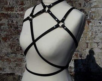 Harness Stella - genuine nappa leather black or gold, art leather black or transparent PVC - Raven leather