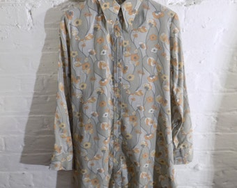 1970s Vintage Mini Dress Blouse Shirt with Psychedelic Optical Funky Flower Print and Pointed Collar - UK 8 EU 36 US 6 - Seventies Psych Mod