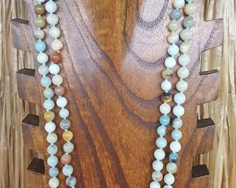 "60"" Amazonite Gemstone Necklace, Long Multicolor Amazonite Gemstone Necklace, Extra Long Amazonite Stone Necklace, 60"" Amazonite Necklace"