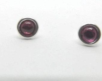 6 mm Rhodolite Garnet Stud Earrings