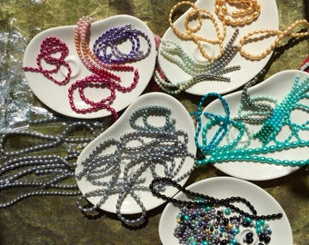pearls, glass, at least 33 strands total - de-stash - beautiful! NEW & Awesome!