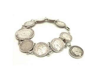 Vintage 1940s Coin Bracelet | Vintage Silver Bracelet | Dutch Silver Bracelet | Silver Bracelet | Coins from Holland | Silver Coin Bracelet