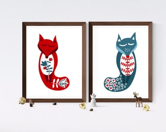 Scandi Sleeping Foxes | Scandinavian Christmas Printable Art | Wall Decor | Merry Christmas | Digital Print | Woodland Nursery | 8x10 Poster