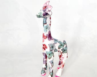 Giraffe, flowers, figurine, ornament, pink, green, purple, white, home decor, flower, giraffes