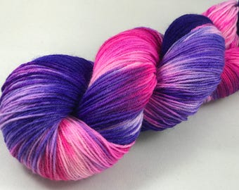 "Hand Dyed Sock Yarn, Superwash Wool & Nylon ""Pinky-Purple Flamingo"""