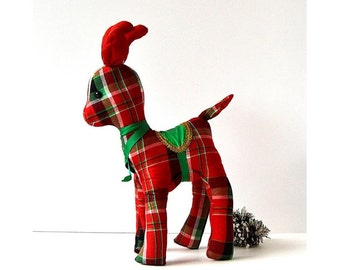 vintage handmade christmas stuffed reindeer tartan plaid reindeer stuffed animal deer decor