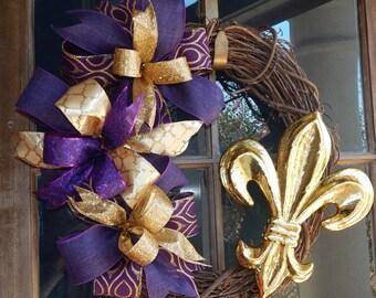Purple and gold grapevine wreath, LSU grapevine wreath, LSU wreath