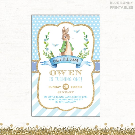 Rabbit Birthday Invitation Boy Baptism Invite Blue and Gold Bunny