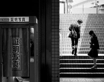 Fine Art Photography, City Photography, Japan Images, Black and White, Street of Tokyo, Cityscape, social, people, stairs