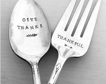 Give Thanks Serving Spoon & Thankful Serving Fork, Thanksgiving Serving Set, Serving Pair, Hand Stamped, Vintage, Silverplate, Gift, Present