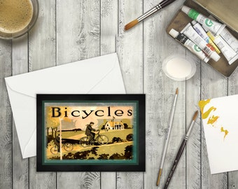 High Resolution Digital Downloadable Blank Card Bicycle through the Countryside. Any Occassion Greeting Card of Bike for the Sports Lover.