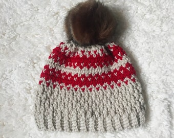 Striped Cupid Fair Isle Faux Fur Beanie // Knit-Style Slouchy Crochet Winter Hat