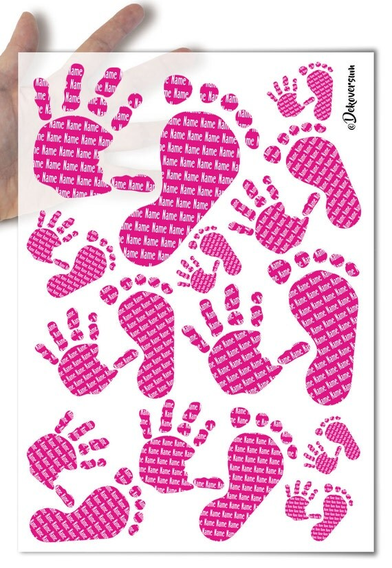 Decoupage Soft Paper | Baby handprints footprints birth baby shower | pink it's a baby girl | choose text or name | cards scrapbooking gift