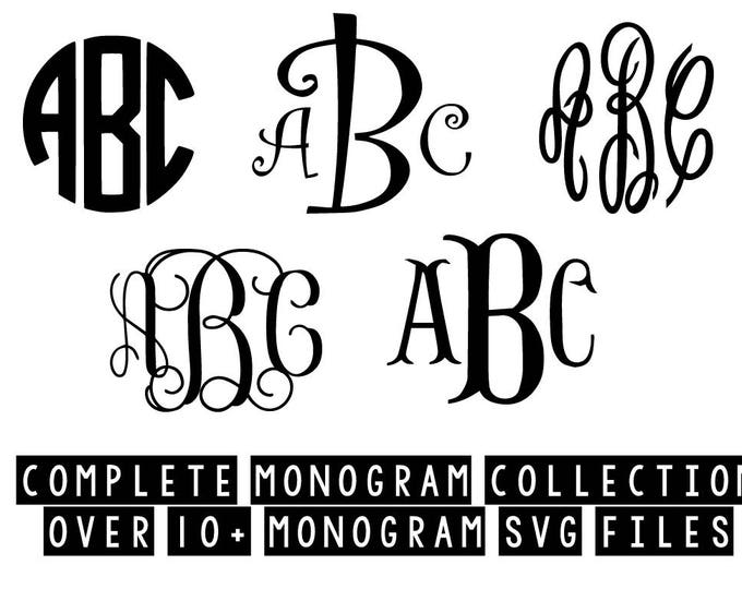 Featured listing image: curly monogram circle monogram vine monogram svg dxf jpeg png file stencil monogram frame silhouette cameo cricut clip art commercial use