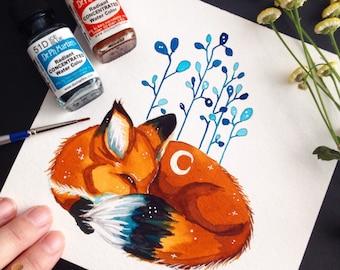 Sleeping Fox Original Illustration