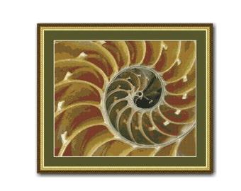 Nautilus Seashell Cross Stitch Pattern, PDF Instant Digital Download Cross Stitch Chart (P-034)