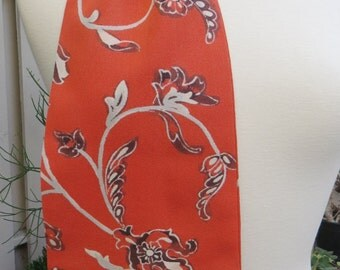 Coral and Black Silk Scarf from re-purposed Japanese Kimono