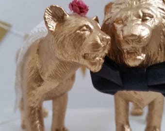 Lion and Lioness Pair Wedding Cake Toppers, Gold Safari Animal Cake Topper Set, Jungle Theme Wedding Cake Set