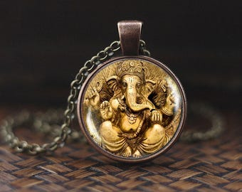 Ganesh necklace, Ganesh pendant, Ganesh Indian God Jewelry, Indian Hindu God, Hinduism Religious Jewelry, Lord Ganesha pendant