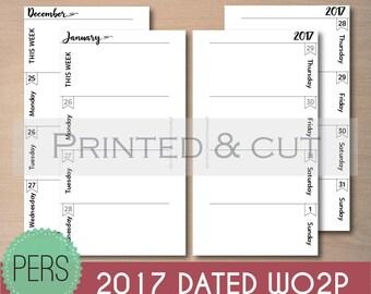 Personal Size 2017 DATED WO2P Fits Kikki K medium, Filofax Personal Planner Inserts