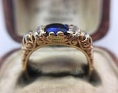 Victorian Sapphire  Diamond ring  Old Cut Victorian 18k Gold Engraved Engagement Ring Statement Elegant Classic Style Anniversary Gift