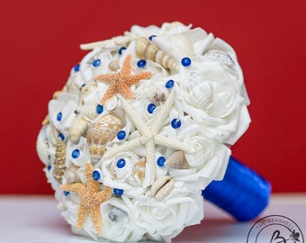 Royal blue wedding bouquet, beach wedding bouquet, starfish bouquet, bridal bouquet with shells, white and sugar starfish, royal blue pins