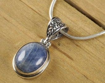 3.25cm Natural SAPPHIRE Pendant - Sterling Silver, Handmade Jewelry, Gemstone Cabochon, Sapphire Necklace, Sapphire Jewelry Making J1024
