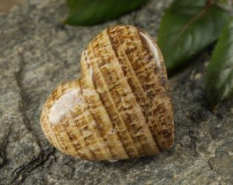 One ARAGONITE Heart Shaped Stone - Heart Stone, Meditation Stone, Grounding Stone, Polished Stone, Natural Stone, Healing Stone E0206