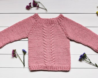 Baby sweater Pink sweater Baby shower Girl's sweater Knit sweater Cotton sweater Rose quartz sweater Hand knit sweater Baby clothing