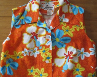 Hawiian Sleeveless Blouse, Barkcloth, by: Lore-nei, Vintage